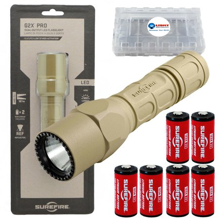 G2z Flashlight (Surefire G2X Pro 600 Lumen Dual-Outputs LED Flashlight with 4 Extra CR123A Batteries and Alliance Gadget Battery Case (Tan))