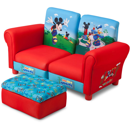 Disney -  3 Piece Upholstered Set, Mickey Mouse Connecting Sofa Couches and Ottoman Set