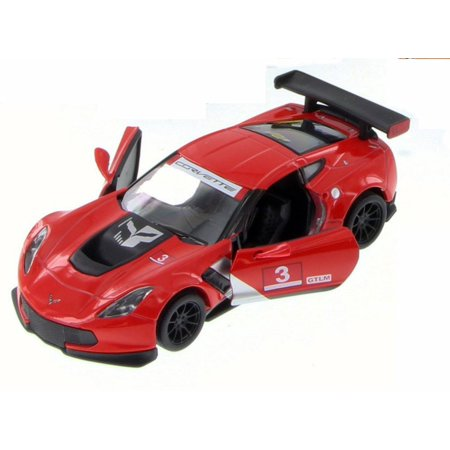 Chevy Corvette C7 Race Car #3, Red w/ Decals - Kinsmart 5397D - 1/36 Scale Diecast Model Toy Car