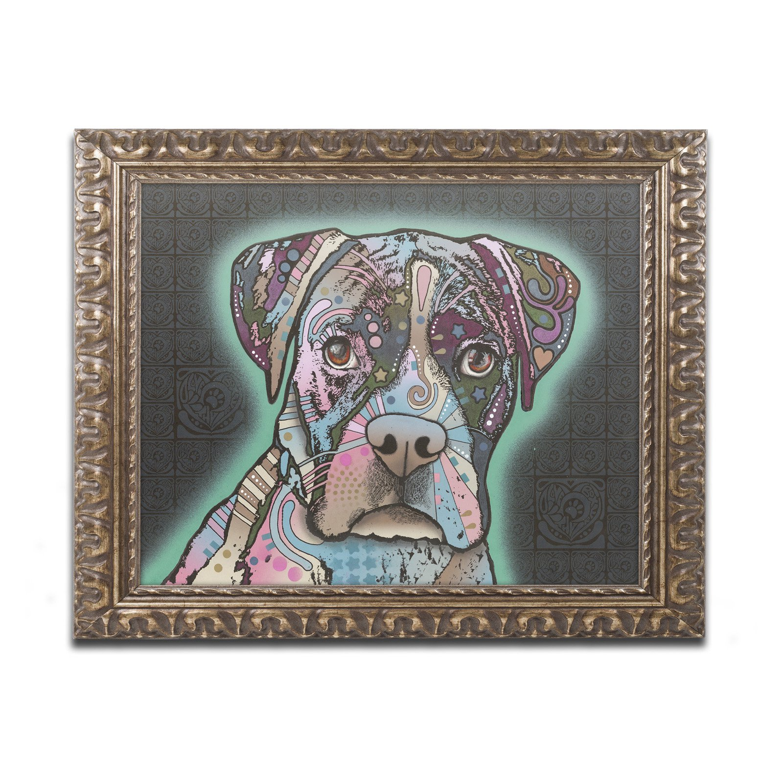 "Trademark Fine Art ""Love Thy Boxer"" Canvas Art by Dean Russo, Gold Ornate Frame by Trademark Global LLC"