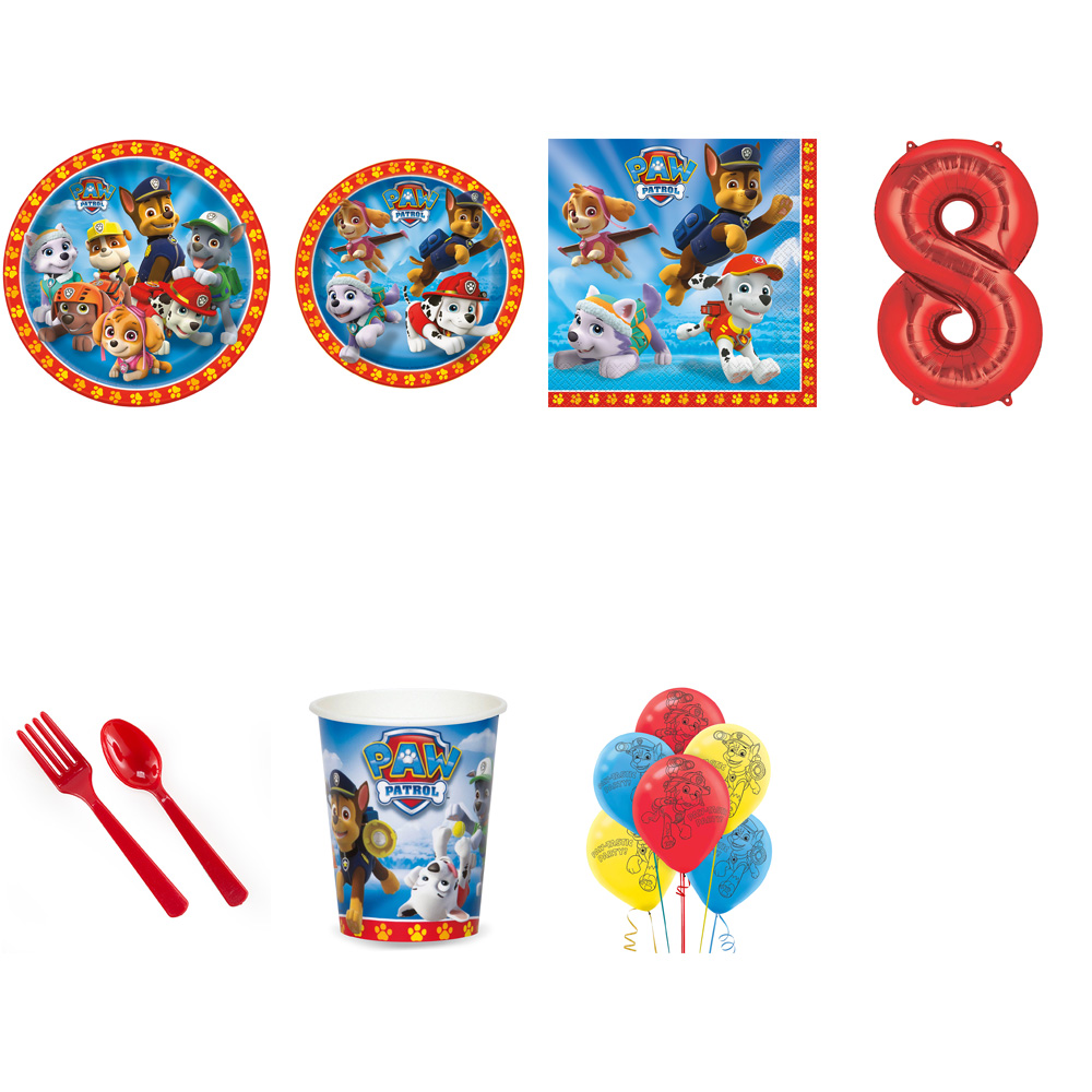 PAW PATROL PARTY SUPPLIES PARTY PACK FOR 32 WITH RED #8 BALLOON