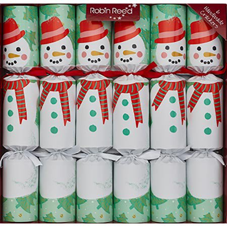 Robin Reed Racing Snowman Christmas Crackers - 6 ct with wind up toys ()