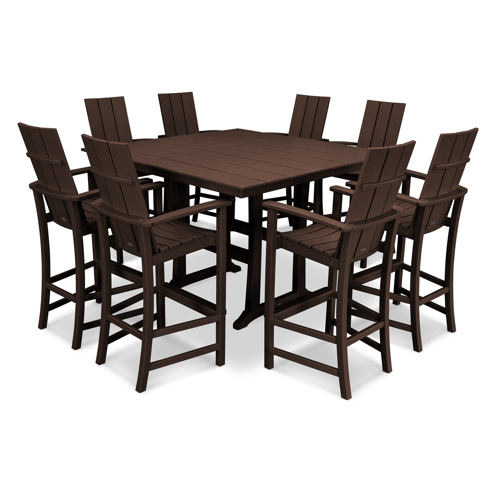 POLYWOOD® Modern Trio Farmhouse Recycled Plastic 9 Piece Adirondack Bar Height Dining Set