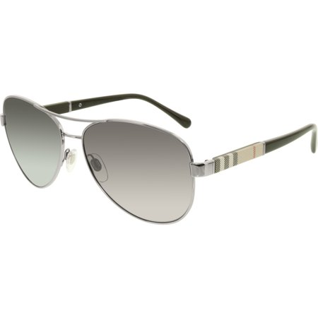 4d6bed96fe6 Burberry - Women s Polarized BE3080-1003T3-59 Silver Aviator Sunglasses -  Walmart.com
