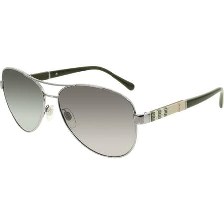 38f054b147 Burberry - Women s Polarized BE3080-1003T3-59 Silver Aviator Sunglasses -  Walmart.com