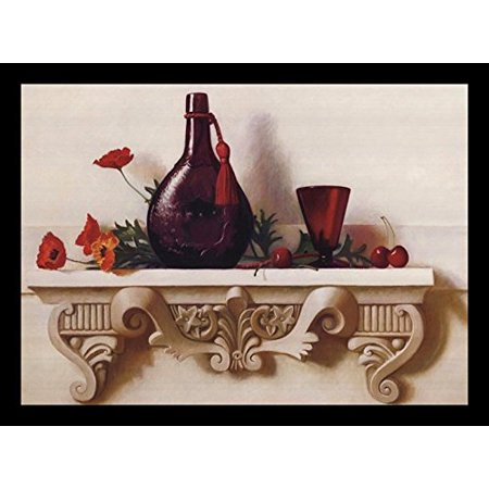 Framed Rhythms   Red 18X13 Art Print Poster Still Life Red Flowers And Cherries Decorative Red Vase And Cup