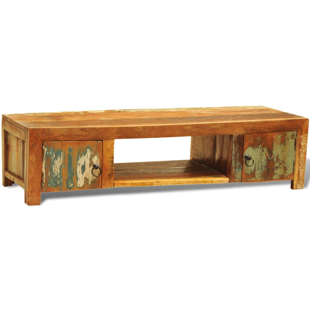 Vintage Antique Style TV Cabinet With 2 Doors   Reclaimed Wood