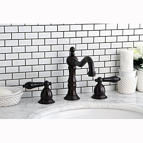 Kingston Brass Oil Rubbed Bronze and Black Widespread Bathroom Faucet Brown