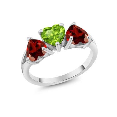 2.63 Ct Heart Shape Green Peridot Red Garnet 925 Sterling Silver 3-Stone Ring