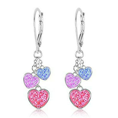 Chanteur - Children's Earrings - White Gold Tone Hearts Multi Color Crystal Earrings with Silver Leverbacks Baby, Girls, Children](Jewelry For Kids)