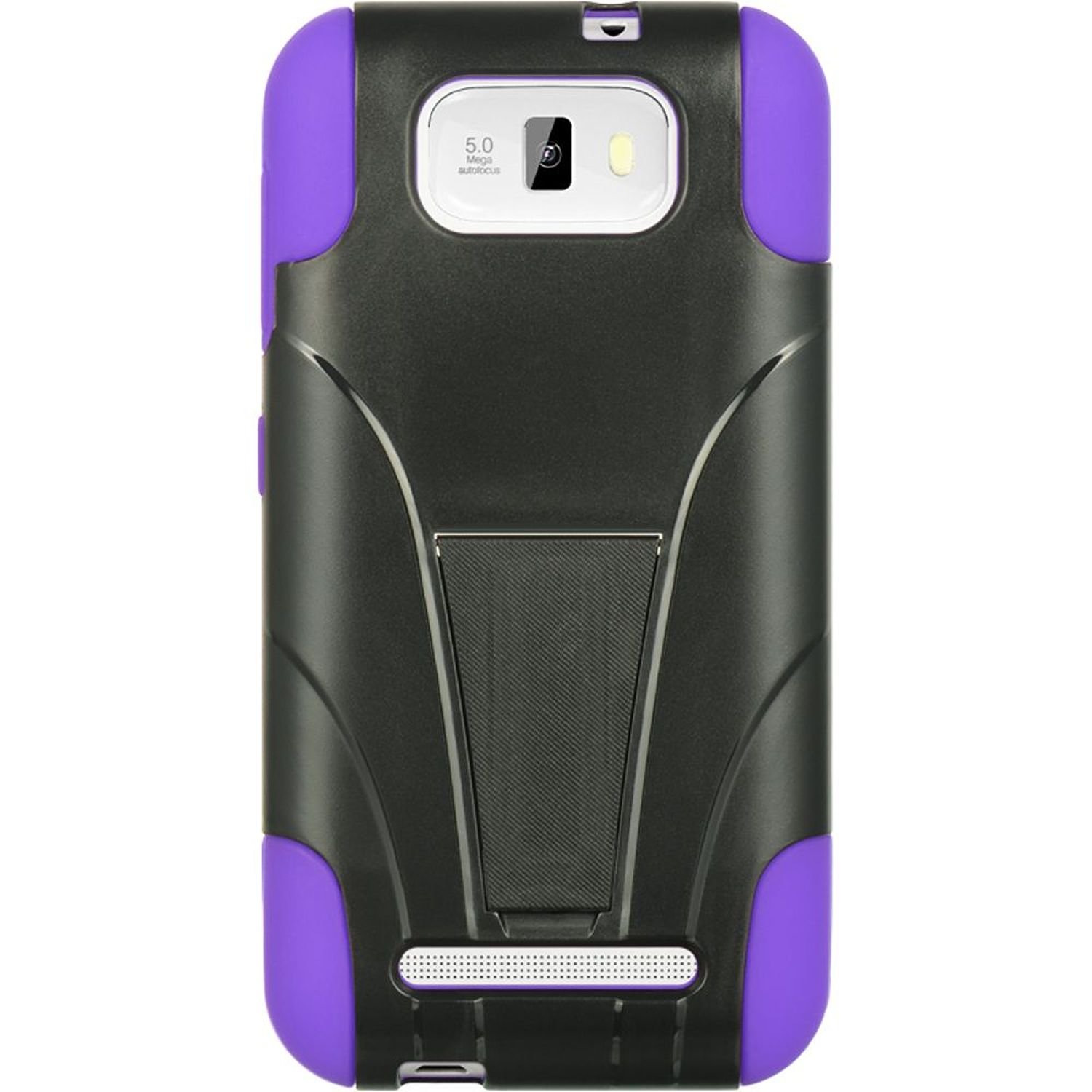 BLU Studio 5.5 Case, by DreamWireless Dual Layer Hybrid Stand Hard Plastic/Soft Silicone Case Cover For BLU Studio 5.5, Black/Purple