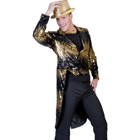 Morris costumes FF782853 Glitter Tailcoat Gold Large
