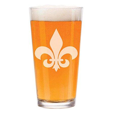 16 oz Beer Pint Glass Fleur-De-Lis