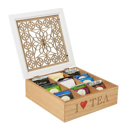 (Mind Reader Single Serve Pouch Divided Tea Box Storage Holder with Wood Floral Pattern, Brown)