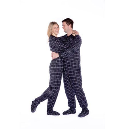 Black & White Plaid 100% Cotton Flannel Adult Footed Pajamas No Drop seat (Black Flannel Pajama)
