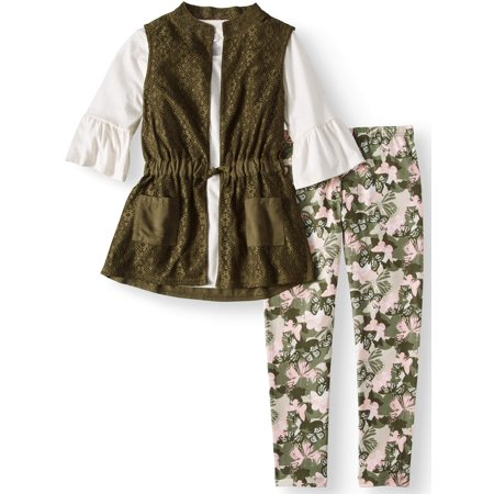 Crochet Lace Vest, Ruffle Sleeve Top, and Legging, 3-Piece Outfit Set (Little Girls & Big Girls)