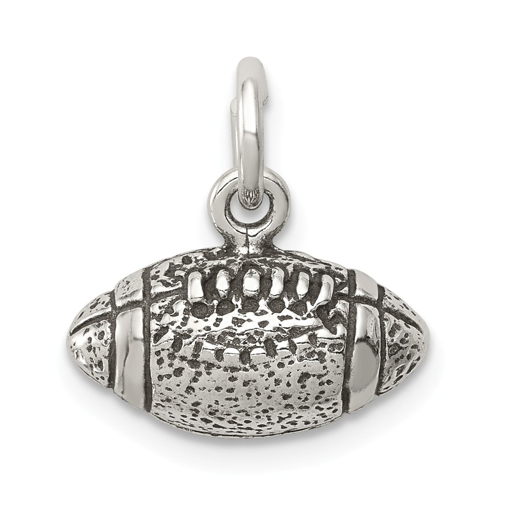 Sterling Silver Antiqued Football Charm (0.4in long x 0.6in wide)