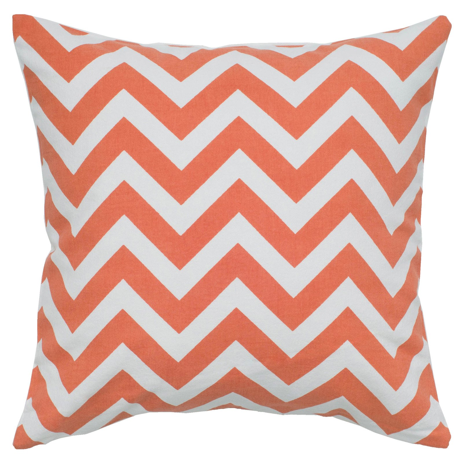"Rizzy Home Decorative Poly Filled Throw Pillow Chevron 18""X18"" Orange"