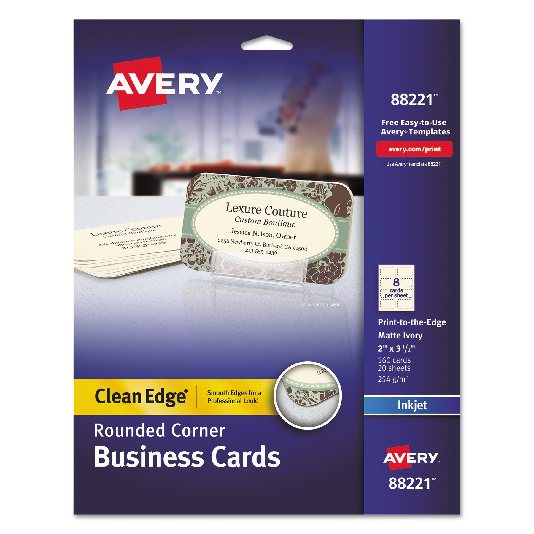 Avery Round Corner Print-to-the-Edge Business Cards, Inkjet, 2 x 3 1 ...