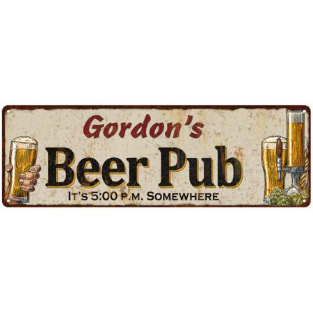 Gordons Credit Card >> Gordon S Beer Pub Personalized Man Cave Bar Decor Gift 6x18 Sign