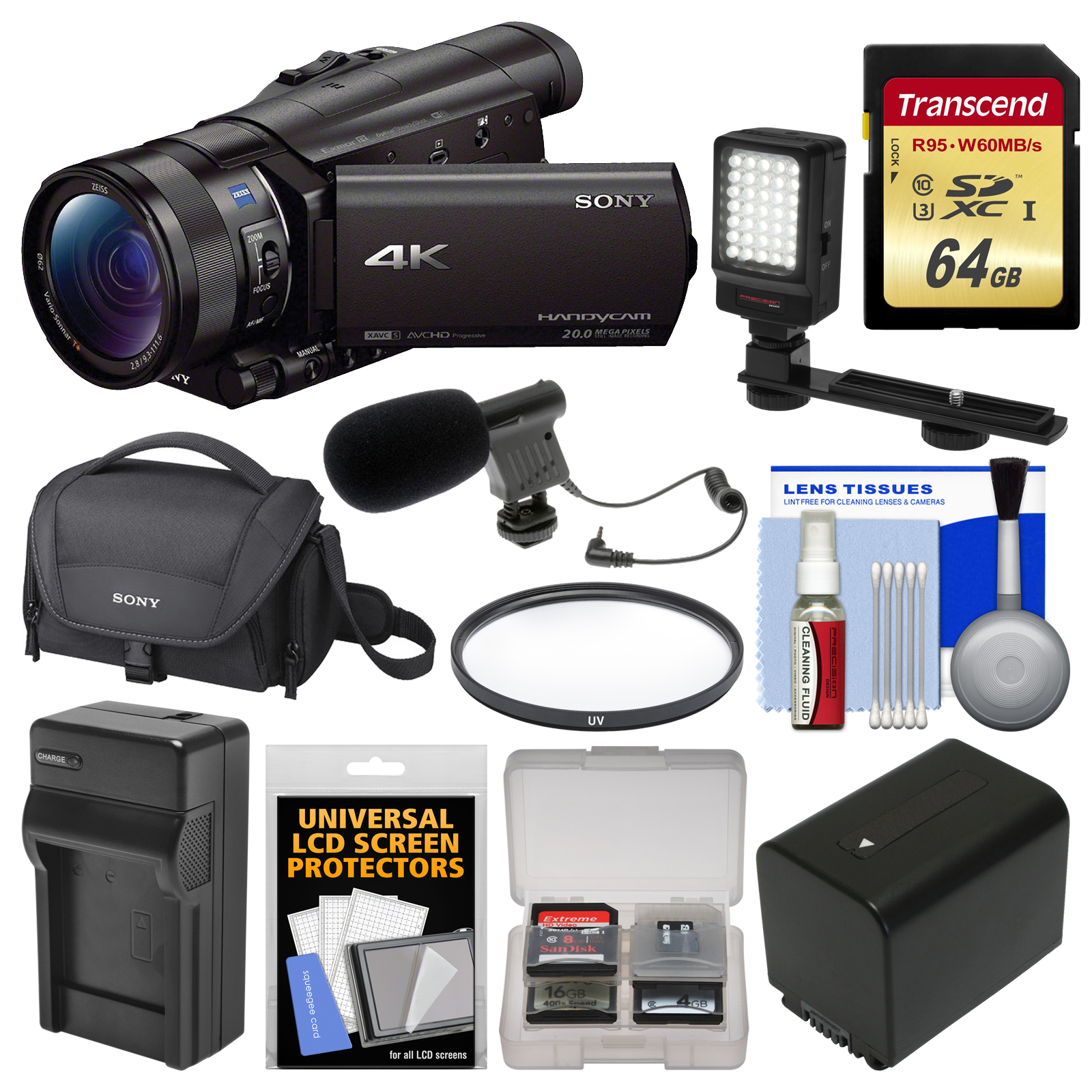Sony Handycam FDR-AX100 Wi-Fi 4K HD Video Camera Camcorder with 64GB Card + Case + LED Light + Battery &... by Sony