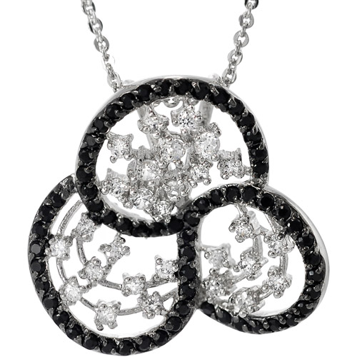 "Brinley Co. Black and White CZ Sterling Silver Pendant, 16 with 1"" Extender"""