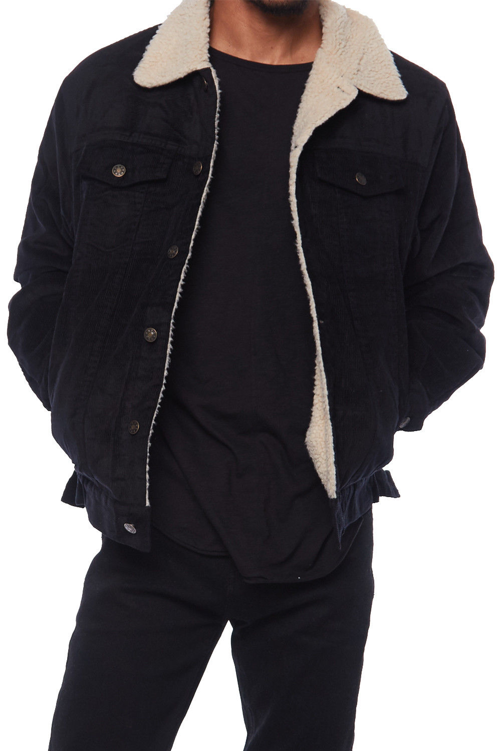 Mens Warm Winter Fur Lining Wool Velour Thick Jacket HK94200 by