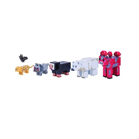 Wild Animal Action Figure (6 Pack)Includes Ocelot, Black Sheep, Mooshroom, Wolf, Bat, and Polar Bear By - Minecraft Ocelot