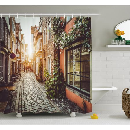 City Shower Curtain, Old Town Photography Europe Scenes Vintage Buildings Cafes Cool Architecture, Fabric Bathroom Set with Hooks, Brown Pale Orange, by Ambesonne - Halloween 3 Shower Scene