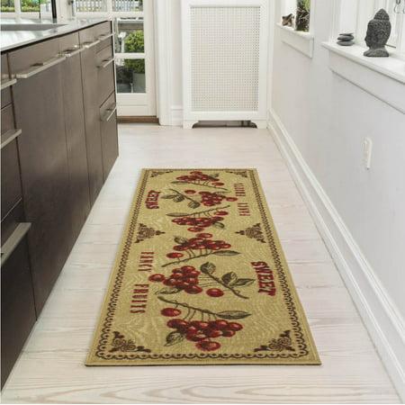Ottomanson siesta collection fruits design kitchen runner area rug 20 x 59 beige for Kitchen rugs with fruit design