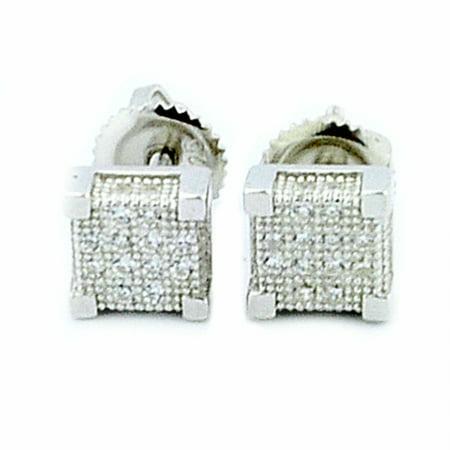 Cube Sterling Silver Earrings - Cube Shaped Stud Earrings Sterling Silver With CZ 6.5mm Wide Screw Back