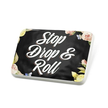 Porcelein Pin Floral Border Stop Drop & Roll Lapel Badge – NEONBLOND