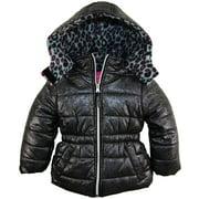 Pink Platinum Little Girls' Toddler All Over Spray Print Puffer Winter Jacket