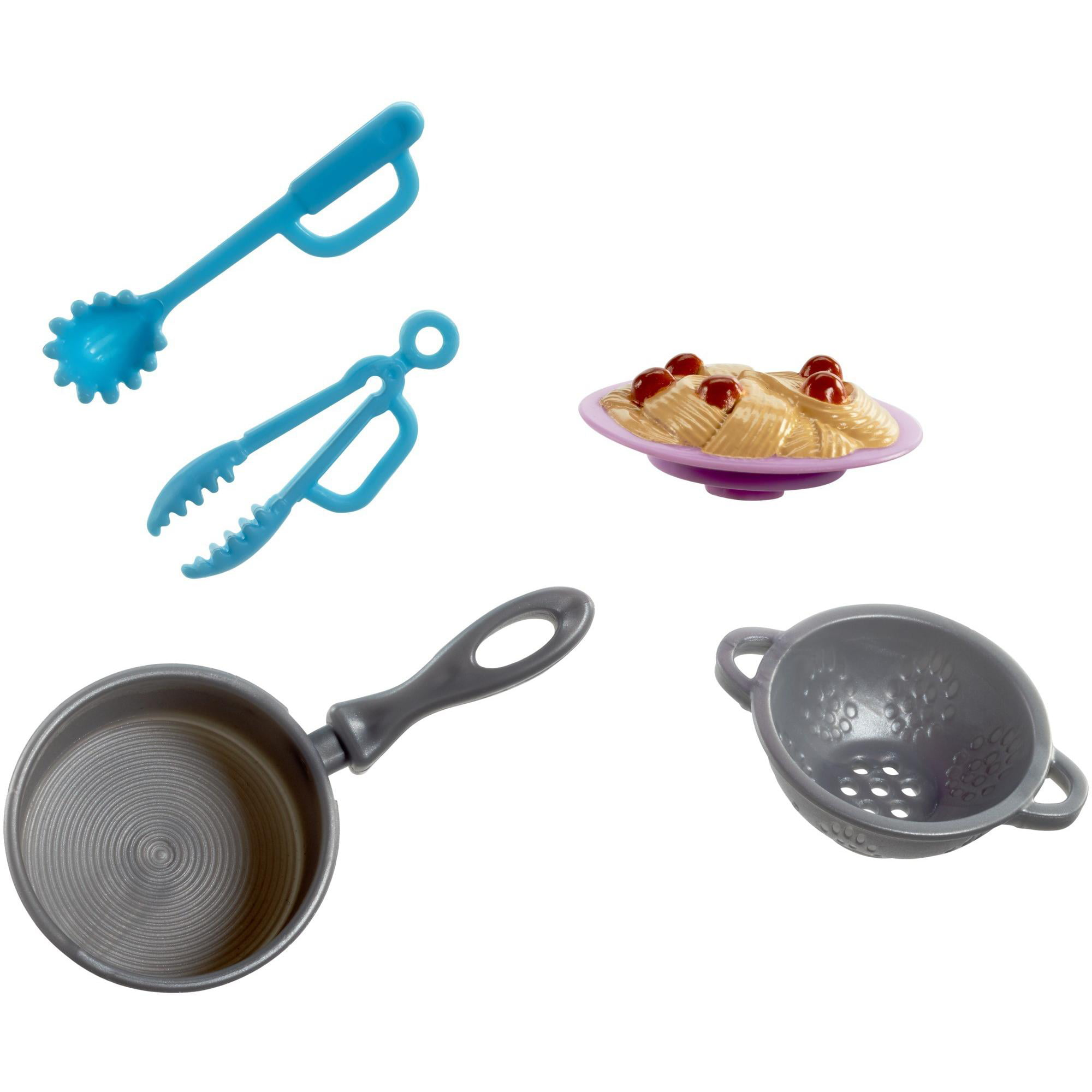 Barbie Cooking Baking Accessories NEW Set 4 Breakfast In Bed Spaghetti Cake Eggs