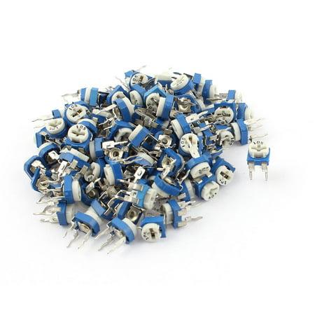 100Pcs 1M ohm Vertical PCB Preset Variable Resistor Trimmer Potentiometer Blue - image 1 of 1