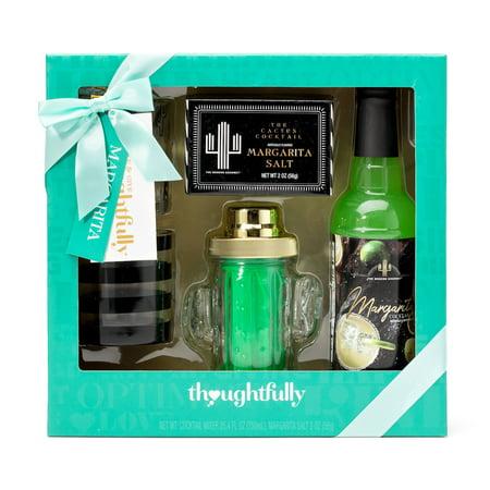 Thoughtfully Cactus Margarita Shaker Gift Set | Contains Cactus Cocktail Shaker, Margarita Mixer, Rimming Salt, Lowball Glasses and more ()