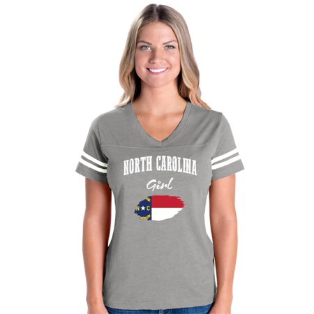 Womens Fitted Fine Jersey Tee - North Carolina Girl Womens V-Neck Fine Jersey Tee