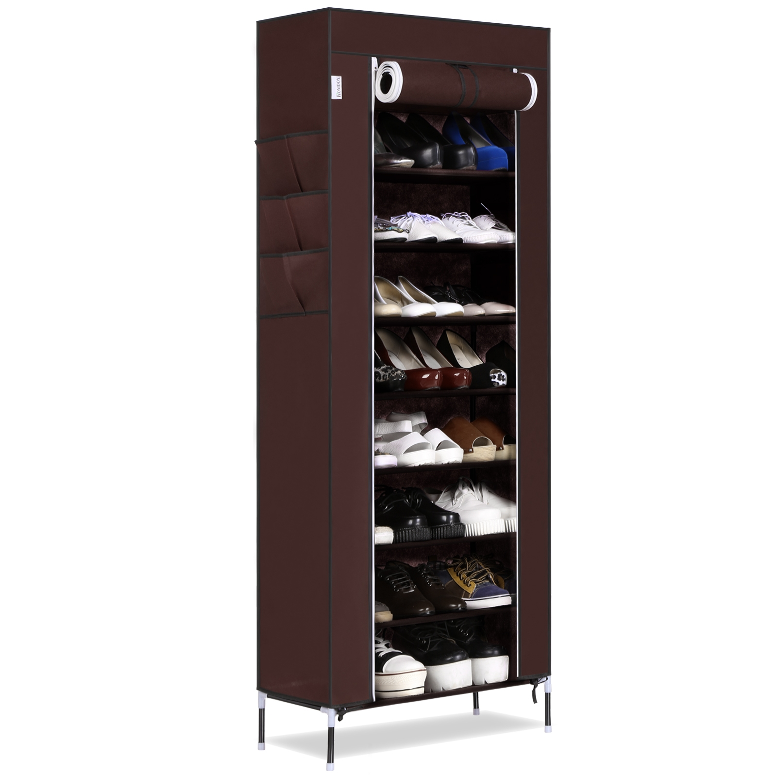 10 Tier 9 Grid Large Capacity Shoes Storage Organizer Portable Shoe Rack with 6 Side HITC