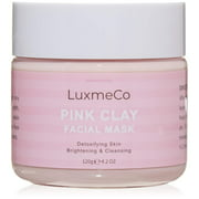 LuxmeCo Pink Kaolin French Rose Clay Facial Mask Natural Ingredients Cruelty Free Pore Minimizing, Moisturizing, Detoxes skin For all skin types (120g, 4.2 oz)