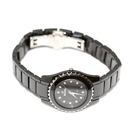 Nivada Round Ceramic Swiss Watch Black Carbon Dial