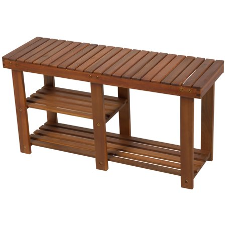 HOMCOM 3-tier Acacia Wood Rustic Country Entryway Shoe Rack Bench with Boots Storage -Teak ()