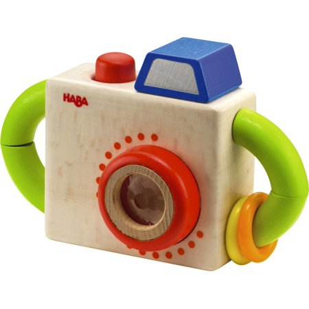 HABA Capture Fun Classic Wooden Toy Camera with Squeaking Button and Prism Lens - Activity Toy Great for First Role - Haba Wooden Toys