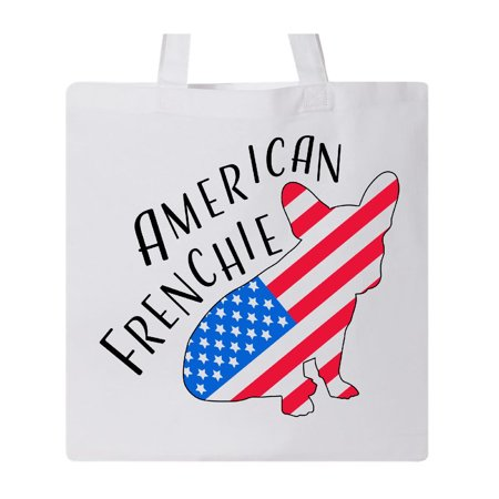 American Frenchie French bulldog flag silhouette Tote Bag White One -