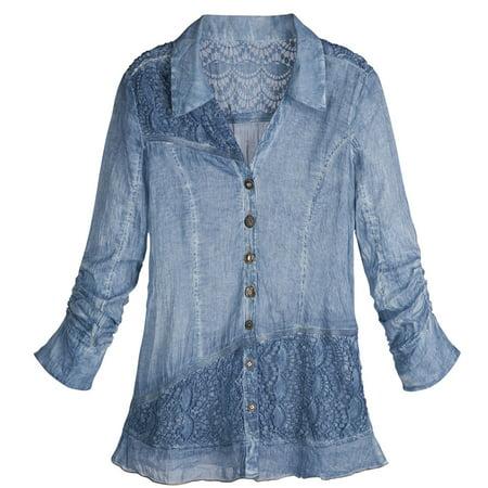 Womenu0026#39;s Buttons And Lace Denim Button Down Shirt - Walmart.com