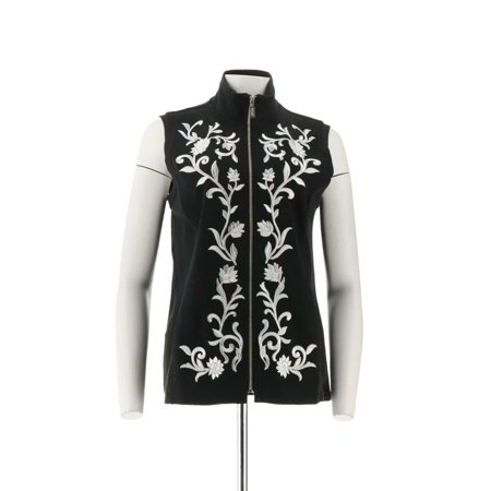 Ponte Knit Coat (Bob Mackie Floral Embroidered Zip Front Ponte Knit Vest A286892)