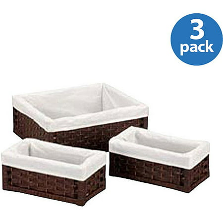 Household Essentials Paper Rope Utility Baskets, Set of - Wicker Storage Baskets
