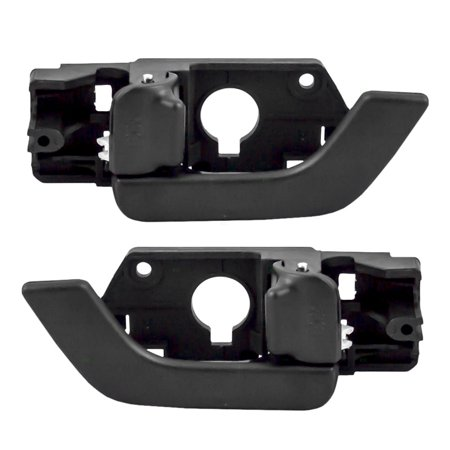 Pair Set Inside Front Door Handles with Black Levers Replacement for Hyundai 82610-2C000-LK - Replacement Upper Door Set