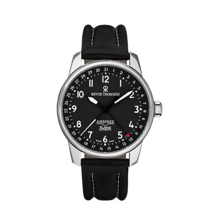 Revue thommen men 39 s 41mm black leather band steel case anti reflective sapphire automatic for Anti reflective watches