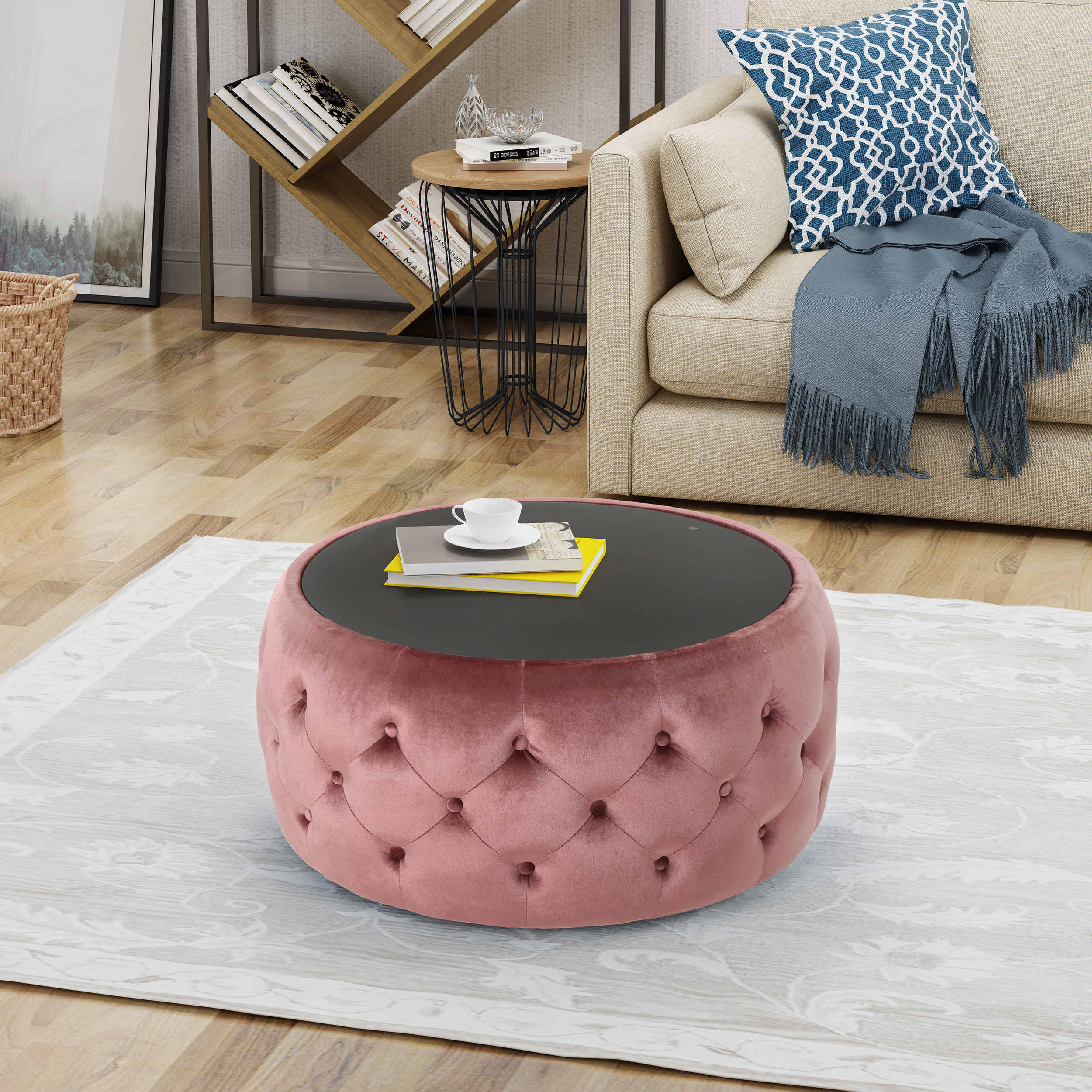 Noble House Glam Velvet and Tempered Glass Coffee Table Ottoman, Blush
