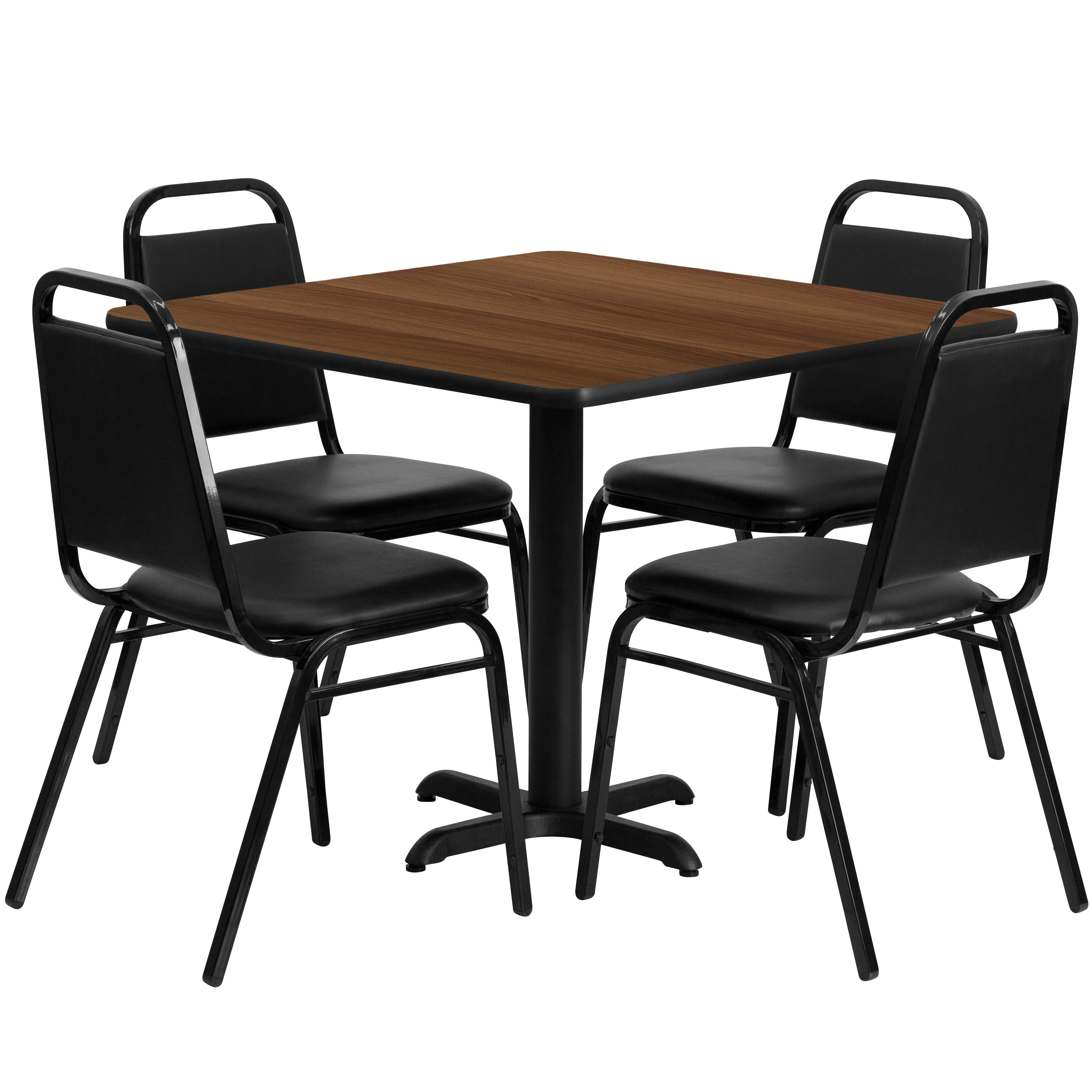 Lancaster Home 36'' Square Laminate Table Set with 4 Trapezoidal Back Banquet Chairs